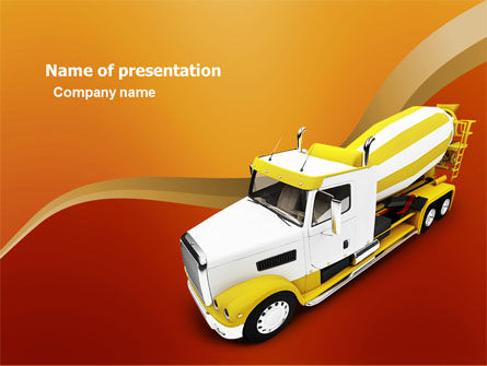 Cars and Transportation: Concrete Mixer PowerPoint Template #03679