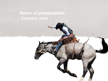 America: Cowboy On The Wild Mustang PowerPoint Template #03683