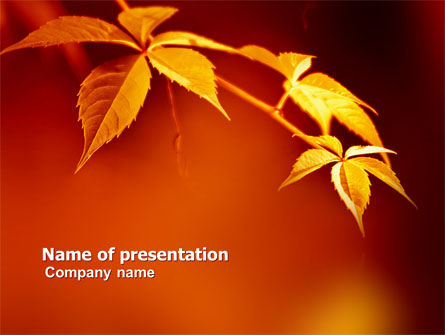 Yellow Leaves On A Yellow Stick PowerPoint Template
