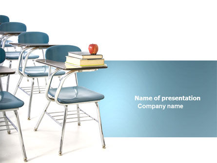 School Desk In A Classroom PowerPoint Template