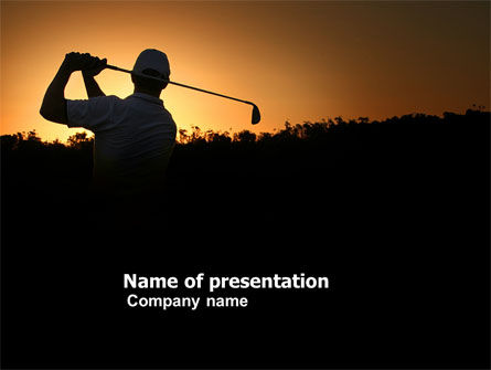 Golf Game On The Sunset PowerPoint Template, 03731, Sports — PoweredTemplate.com