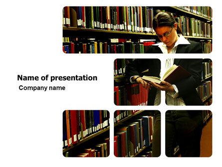 Education & Training: Student In The Library PowerPoint Template #03732