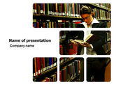 Student In The Library PowerPoint Template#1