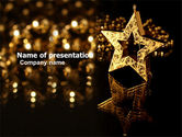 Holiday/Special Occasion: Gold Star PowerPoint Template #03748