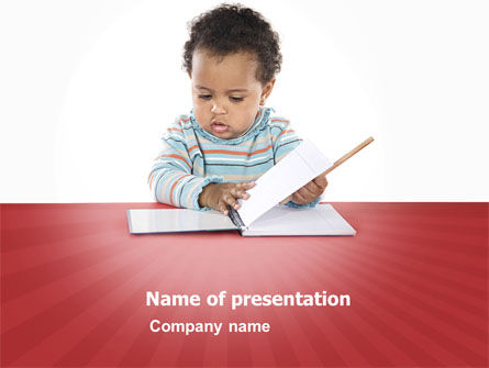 Kid Learning PowerPoint Template, 03759, Education & Training — PoweredTemplate.com
