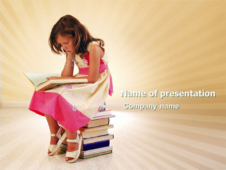 Reading Book PowerPoint Template, 03767, Education & Training — PoweredTemplate.com