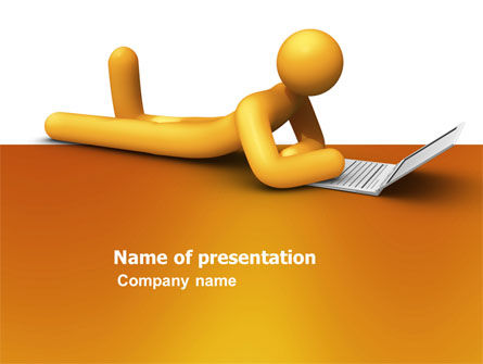 Orange Man With Laptop PowerPoint Template, 03773, 3D — PoweredTemplate.com