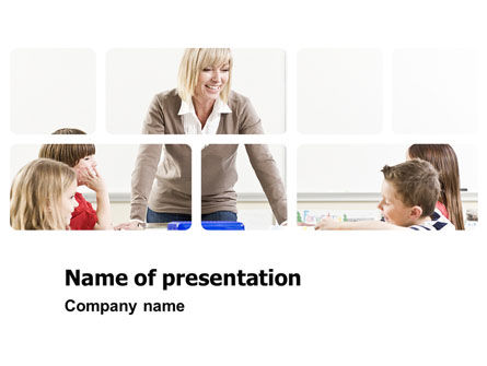 Education & Training: Teacher and Kids PowerPoint Template #03775