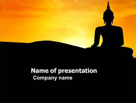 Religious/Spiritual: Sitting Buddha In Sunset PowerPoint Template #03776