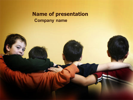Friendship Between Boys PowerPoint Template, 03805, People — PoweredTemplate.com