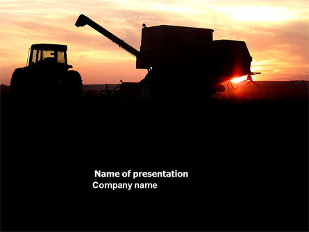 Combine Harvester PowerPoint Template, 03836, Agriculture — PoweredTemplate.com