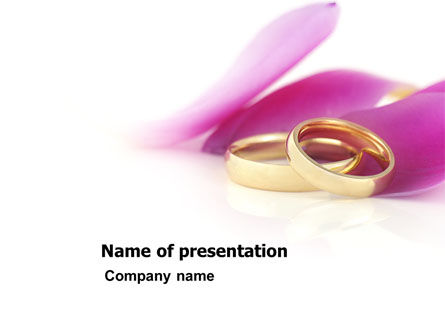 Holiday/Special Occasion: Wedding Rings In A Purple Napkin PowerPoint Template #03848