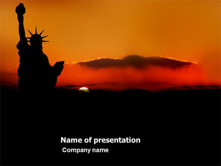 America: Sunset of Liberty PowerPoint Template #03876
