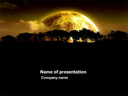 Nature & Environment: Yellow Moon PowerPoint Template #03895