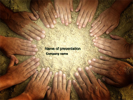 Unity Hands Touching Ground PowerPoint Template, 03911, Religious/Spiritual — PoweredTemplate.com