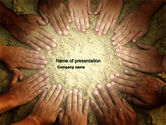 Religious/Spiritual: Unity Hands Touching Ground PowerPoint Template #03911
