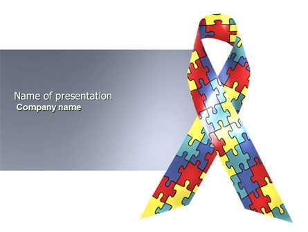 Religious/Spiritual: Autism Awareness Ribbon PowerPoint Template #03914