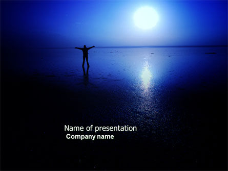 Nature & Environment: Blue Sunset PowerPoint Template #03932