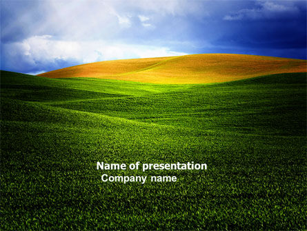 Nature & Environment: Green Field Under The Sun And Blue Sky PowerPoint Template #03958
