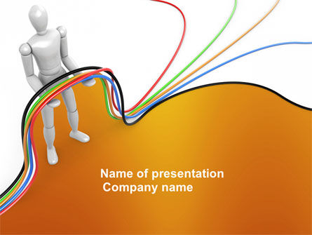 Multicolored Wires On Orange Background PowerPoint Template, 03969, Telecommunication — PoweredTemplate.com