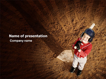 Sports: Little Baseball Player PowerPoint Template #03974