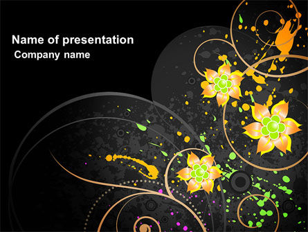 Yellow Flowers Pattern PowerPoint Template, 03980, Abstract/Textures — PoweredTemplate.com