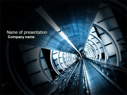 Airport Staircase PowerPoint Template, 03990, Construction — PoweredTemplate.com
