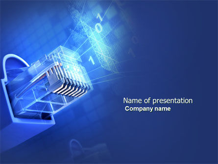 Patch Cord Connector PowerPoint Template, 03995, Technology and Science — PoweredTemplate.com