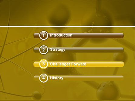 Molecular Lattice In Dark Yellow Colors PowerPoint Template, Slide 3, 04002, Technology and Science — PoweredTemplate.com