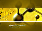 Technology and Science: Molecular Lattice In Dark Yellow Colors PowerPoint Template #04002