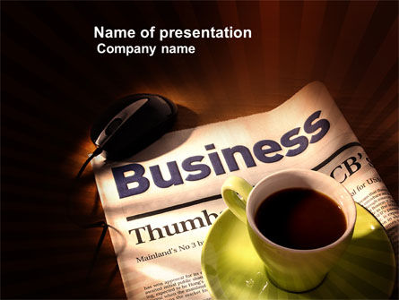 Business Newspaper With Cup Of Coffee PowerPoint Template, 04004, Business — PoweredTemplate.com
