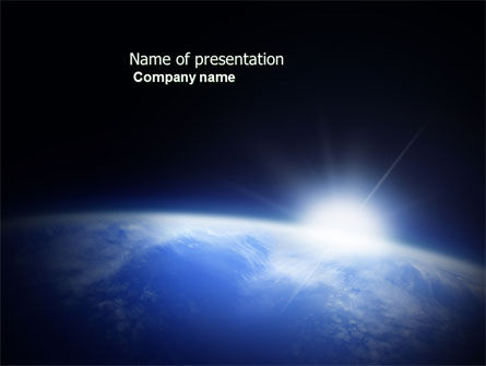 Nature & Environment: Blue Sunrise in Space PowerPoint Template #04008
