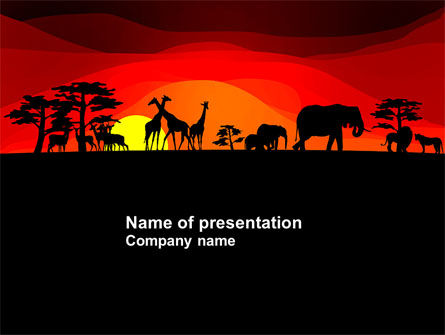 Savanna Sundown PowerPoint Template, 04012, Nature & Environment — PoweredTemplate.com