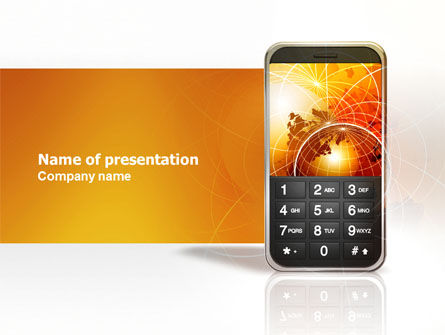 Telecommunication: Cellular Phone In Orange Colors PowerPoint Template #04021