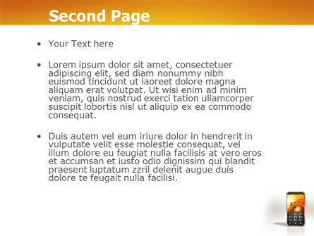 Cellular Phone In Orange Colors PowerPoint Template, Slide 2, 04021, Telecommunication — PoweredTemplate.com