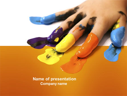 Painted Fingers PowerPoint Template, 04025, Education & Training — PoweredTemplate.com