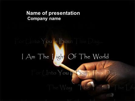I Am The Light Of The World PowerPoint Template, 04034, Religious/Spiritual — PoweredTemplate.com