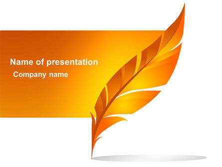 Feather In Orange Color PowerPoint Template