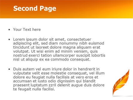 Feather In Orange Color PowerPoint Template Slide 2