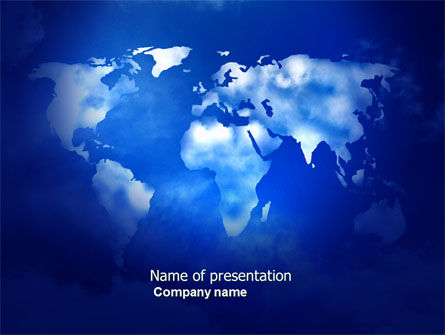 Wide World Blue Map PowerPoint Template, 04050, Global — PoweredTemplate.com