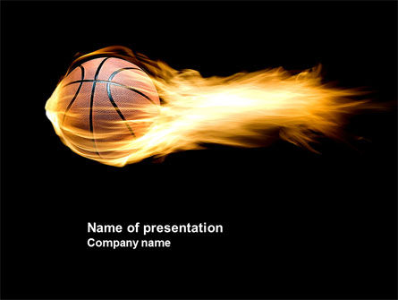 Sports: Flaming Basketball PowerPoint Template #04054