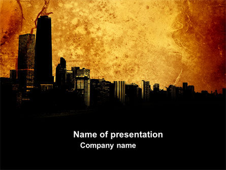 Skyline Of A City PowerPoint Template, 04096, Construction — PoweredTemplate.com