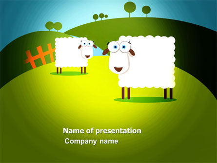 Sheep In Primitive Picture PowerPoint Template