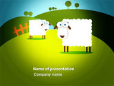 Agriculture: Sheep In Primitive Picture PowerPoint Template #04099
