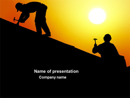 Roof Workers PowerPoint Template, 04101, Careers/Industry — PoweredTemplate.com