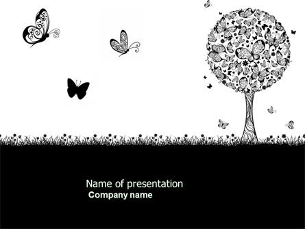 Butterfly Motif PowerPoint Template, 04103, Education & Training — PoweredTemplate.com