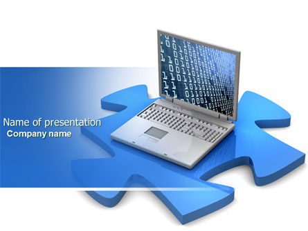 Laptop Data PowerPoint Template, 04108, Technology and Science — PoweredTemplate.com