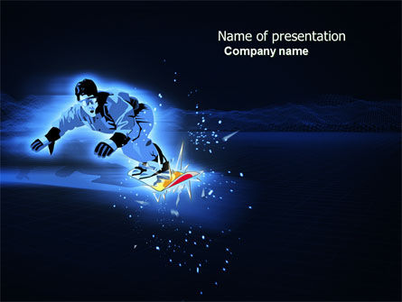 Snowboarding In A Dark Blue Background PowerPoint Template, 04118, Sports — PoweredTemplate.com