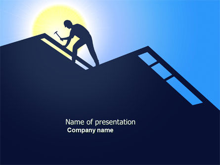Builder On A Roof PowerPoint Template