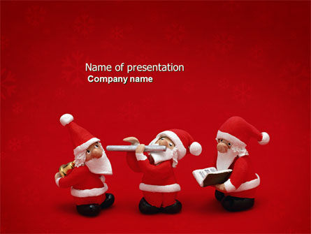 Holiday/Special Occasion: Little Santa Clauses PowerPoint Template #04153